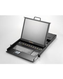"""1U, 17"""" LCD keyboard drawer, single rail, 8x 1.8m KVM, PS2"""